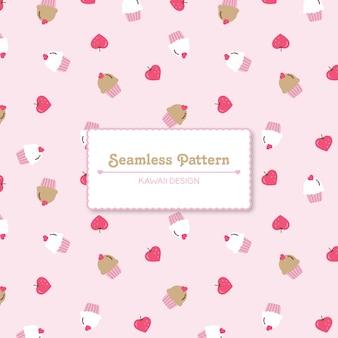 Leuke aardbeien en cupcakes naadloos patroon