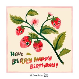 Leuke aardbeien verjaardag wenskaart