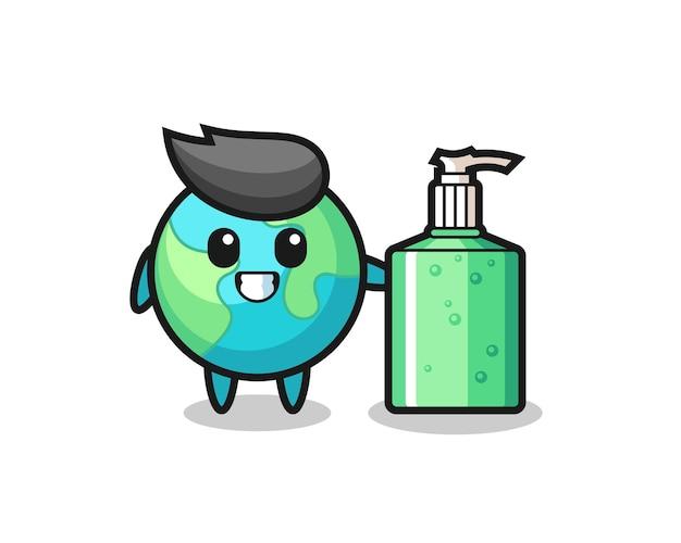 Leuke aarde cartoon met handdesinfecterend middel