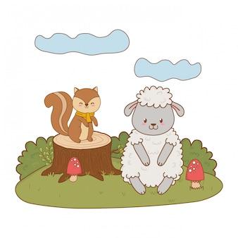 Leuke aardeekhoorn en schapen in de bosaardtekens