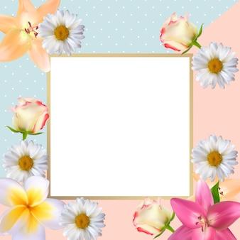 Leuke achtergrond met frame en bloemen collectie set