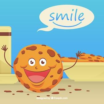 Leuke achtergrond met gelukkig koekje karakter