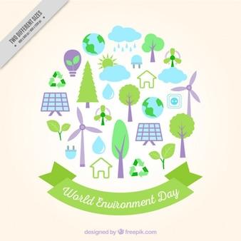 Leuke achtergrond met milieu-elementen