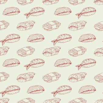 Leuke achtergrond naadloze achtergrond met heerlijke verscheidenheid aan schets sushi