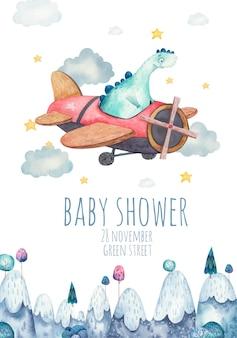 Leuke achtergrond, sjabloon voor kinderfeestje, babydouche met blauwe dinosaurus op vliegtuig aquarel