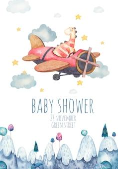Leuke achtergrond, sjabloon voor kinderfeestje, babydouche met dinosaurus in vliegtuig, aquarel