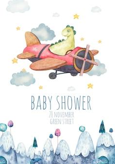 Leuke achtergrond, sjabloon voor kinderfeestje, babydouche met groene dinosaurus op vliegtuig, kinder aquarel illustratie op witte achtergrond