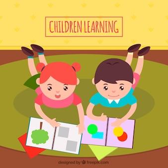Leuke achtergrond van gelukkige kinderen leren