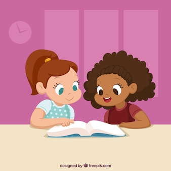 Leuke achtergrond van klasgenoten samen lezen