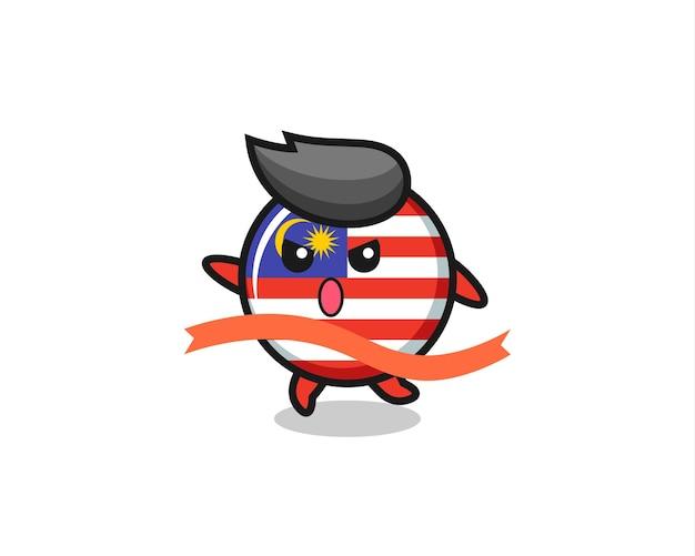 Leuke afbeelding van het vlagbadge van maleisië bereikt de finish, schattig stijlontwerp voor t-shirt, sticker, logo-element