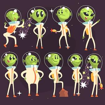 Leuke aliens in ruimtepakken