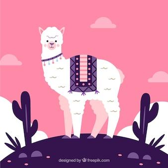 Leuke alpaca achtergrond met cactus
