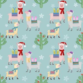 Leuke alpaca in kerstmisseizoen naadloos patroon.