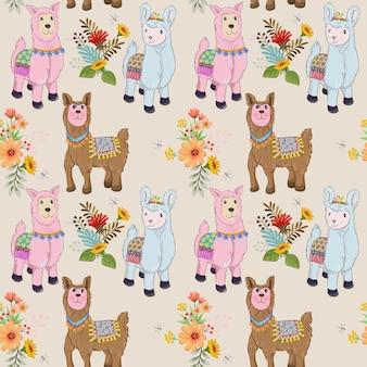 Leuke alpaca met bloem naadloos patroon.