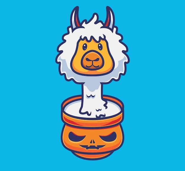 Leuke alpaca op de kompompoen. geïsoleerde cartoon halloween illustratie. vlakke stijl geschikt voor sticker icon design premium logo vector. mascotte karakter
