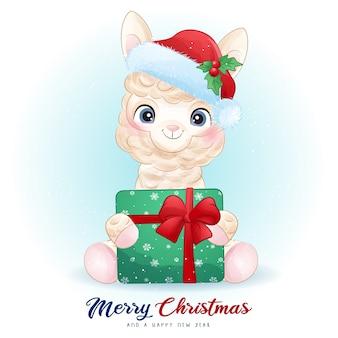 Leuke alpaca voor eerste kerstdag met aquarel illustratie