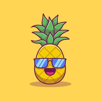 Leuke ananas die het pictogramillustratie van het glazenbeeldverhaal dragen. zomer fruit pictogram concept geïsoleerd. flat cartoon stijl