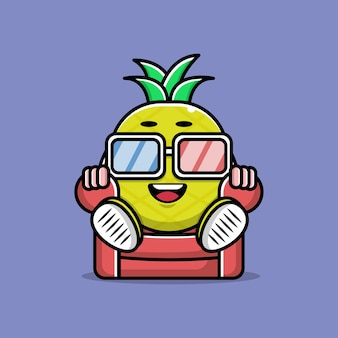 Leuke ananas kijken bioscoop cartoon afbeelding