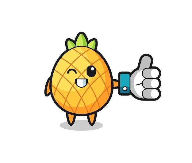 Leuke ananas met sociale media duim omhoog symbool, schattig stijlontwerp voor t-shirt, sticker, logo-element