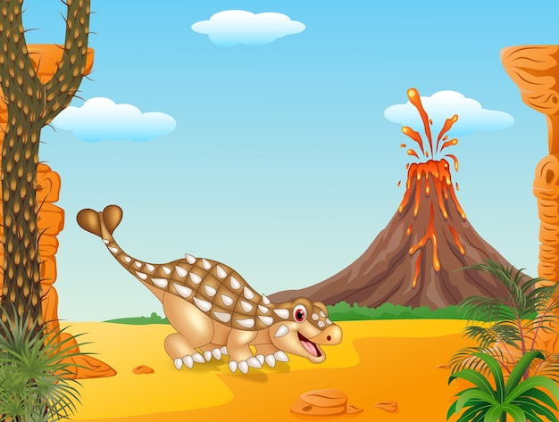 Leuke ankylosaurus poseren op de voorhistorische achtergrond