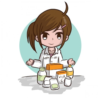 Leuke apotheker cartoon, baan concept.