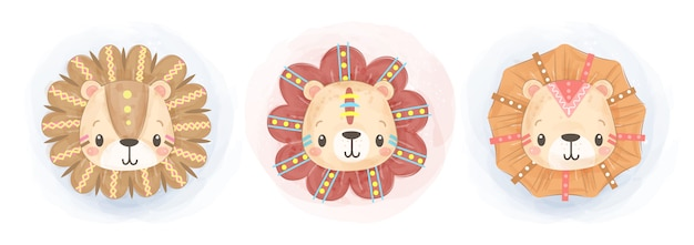 Leuke aquarel boho leeuw illustratie