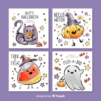 Leuke aquarel halloween kaart collectie
