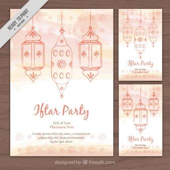 Leuke aquarel hand getekende ramadan flyers