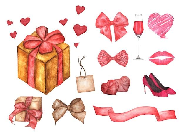 Leuke aquarel romantische illustratie set ontwerpelementen voor valentijnsdag. Premium Vector