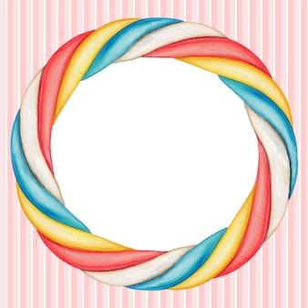 Leuke aquarel ronde regenboog marshmallow