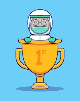 Leuke arts die beschermingskostuum met grote trofee draagt