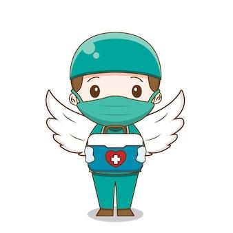 Leuke arts die chirurgiekostuum draagt dat gereedschapskistillustratie geïsoleerd houdt