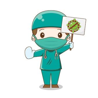 Leuke arts die chirurgiekostuum draagt tegen virusillustratie van geïsoleerd chibikarakter