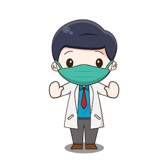 Leuke arts die een masker draagt