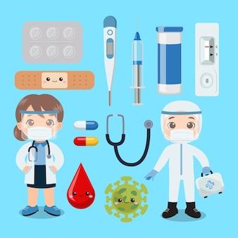 Leuke arts en verpleegster met medische hulpmiddelen illustraties platte vector cartoon stijl
