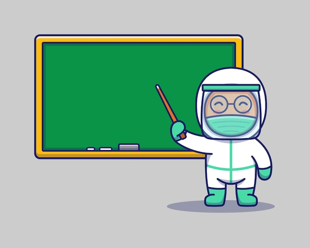 Leuke arts lesgeven met een schoolbord