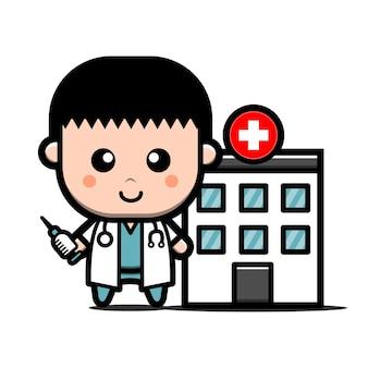 Leuke arts met injectie voor stripfiguur van ziekenhuisgebouw.