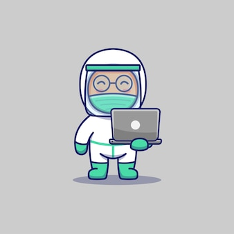 Leuke arts met laptop