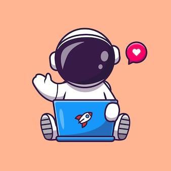 Leuke astronaut bezig met laptop cartoon vectorillustratie pictogram.