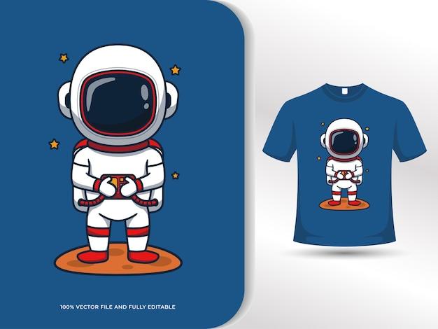 Leuke astronaut cartoon afbeelding met t-shirt ontwerpsjabloon