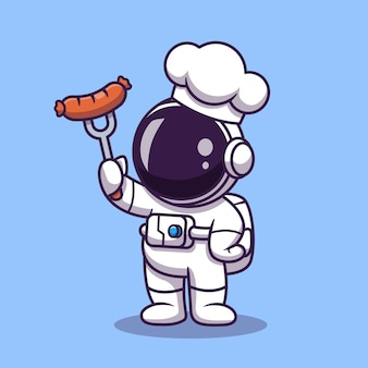 Leuke astronaut chef-kok met grill worst cartoon afbeelding. science food concept. platte cartoon stijl