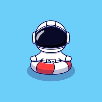 Leuke astronaut die met rubberen ring zwemt