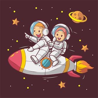 Leuke astronaut die raketillustratie berijdt