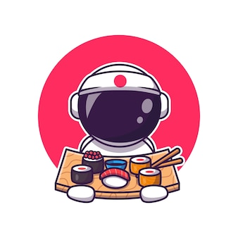 Leuke astronaut die sushi cartoon eet. science food icon concept geïsoleerd. flat cartoon stijl