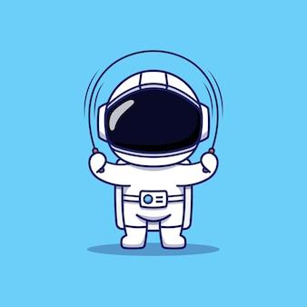 Leuke astronaut die touwtjespringen speelt