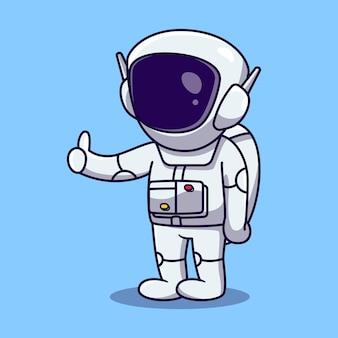 Leuke astronaut duimschroef opwaarts cartoon afbeelding vector. wetenschap technologie pictogram concept geïsoleerd premium vector. platte cartoonstijl