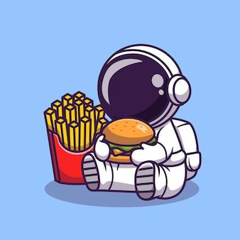 Leuke astronaut eet hamburger met frieten cartoon afbeelding. wetenschap voedsel pictogram concept. platte cartoon stijl