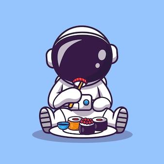 Leuke astronaut eet sushi cartoon afbeelding. wetenschap voedsel pictogram concept. platte cartoon stijl