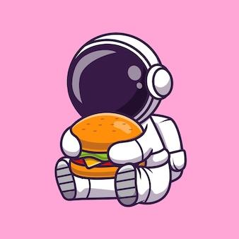Leuke astronaut eten hamburger cartoon vector icon illustratie. wetenschap voedsel pictogram concept geïsoleerde premium vector. platte cartoonstijl