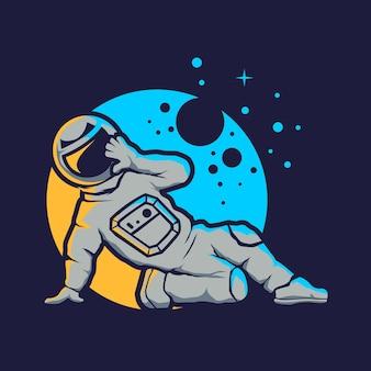Leuke astronaut hip hop stijl geïsoleerd op blauw